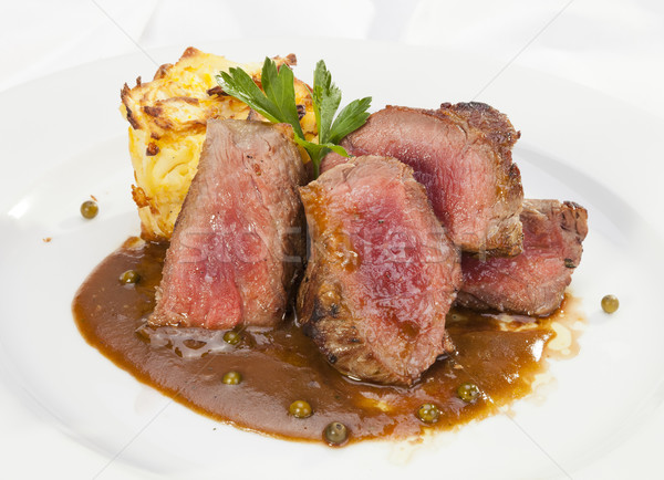 Grelhado lombo de vaca pimenta molho restaurante jantar Foto stock © hanusst