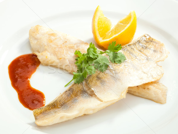 Grilled Pike perch with lemon Stock photo © hanusst