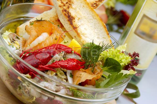 Frutos do mar salada comida peixe ovo Foto stock © hanusst