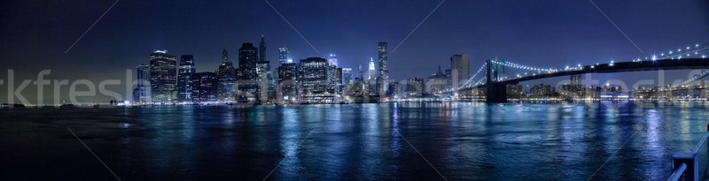 New York City skyline brug nacht business kantoor Stockfoto © hanusst