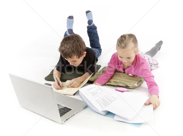 Kind baas secretaris kijken laptop kinderen Stockfoto © hanusst