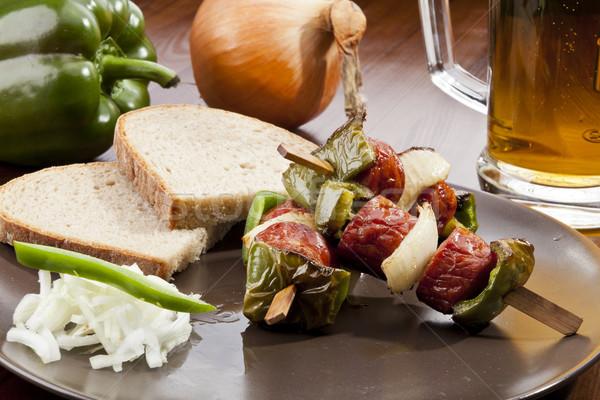 Gegrild worst spugen brood partij zomer Stockfoto © hanusst