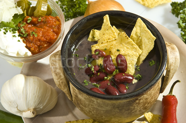 Soup con carne mexican style Stock photo © hanusst