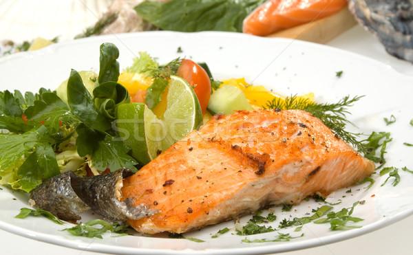 Salmão comida peixe fruto Foto stock © hanusst