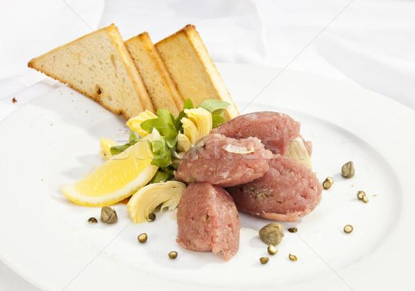 Veal steak tartar with caper and artichoke Stock photo © hanusst