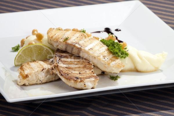 Grilled butterfish  w potato puree Stock photo © hanusst