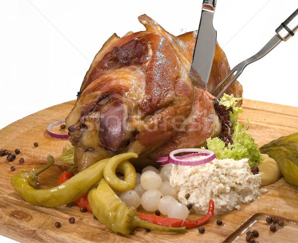 Grillés porc genou raifort moutarde restaurant Photo stock © hanusst