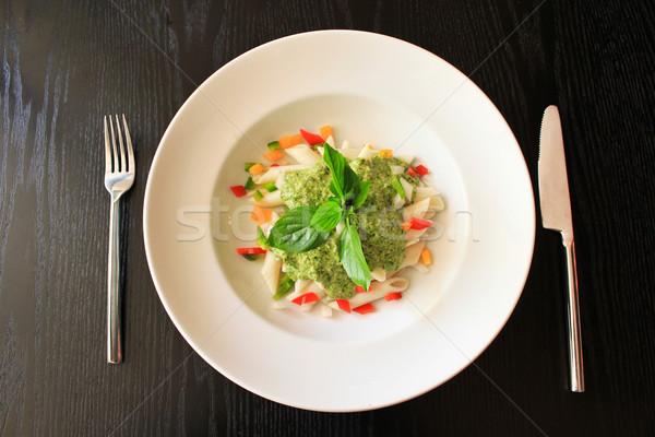 Makarna ıspanak krem sos bıçak restoran Stok fotoğraf © happydancing