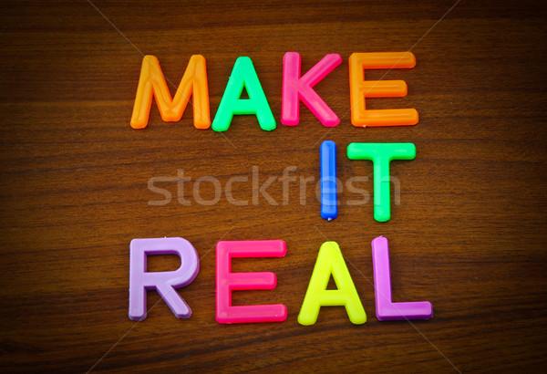 Echt kleurrijk speelgoed brieven hout Stockfoto © happydancing