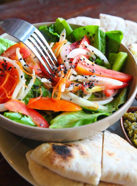Salade kaas brood vork peper lunch Stockfoto © happydancing