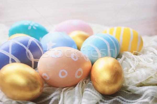 Színes pasztell húsvéti tojások szövet copy space klasszikus Stock fotó © happydancing