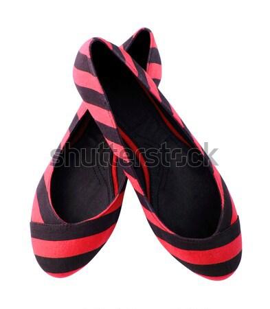 Azul a rayas zapatos mujer aislado blanco Foto stock © happydancing