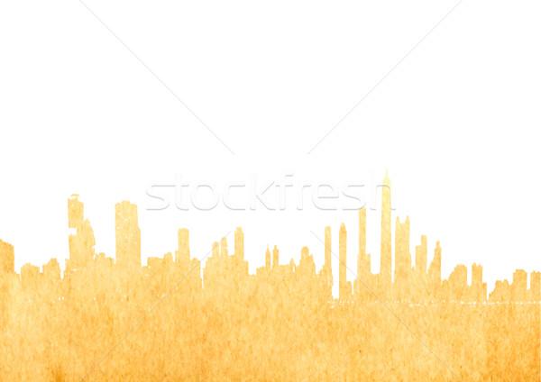 Grunge görüntü yalıtılmış Cityscape Eski kağıt iş Stok fotoğraf © happydancing