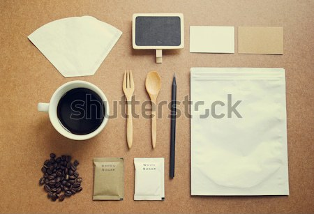 Coffee identity branding mockup set with retro filter effect Stock photo © happydancing
