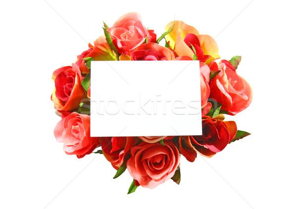Scheda vuota rosa isolato bianco fiore carta Foto d'archivio © happydancing