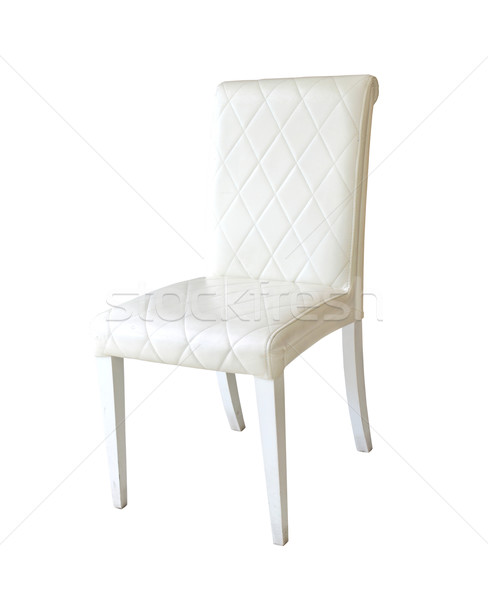Beyaz deri sandalye yalıtılmış doku arka plan Stok fotoğraf © happydancing