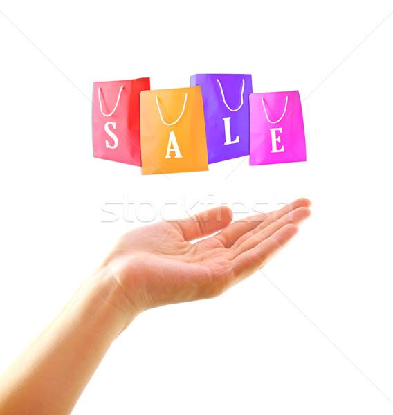 торговых женщину стороны корзина продажи моде Сток-фото © happydancing