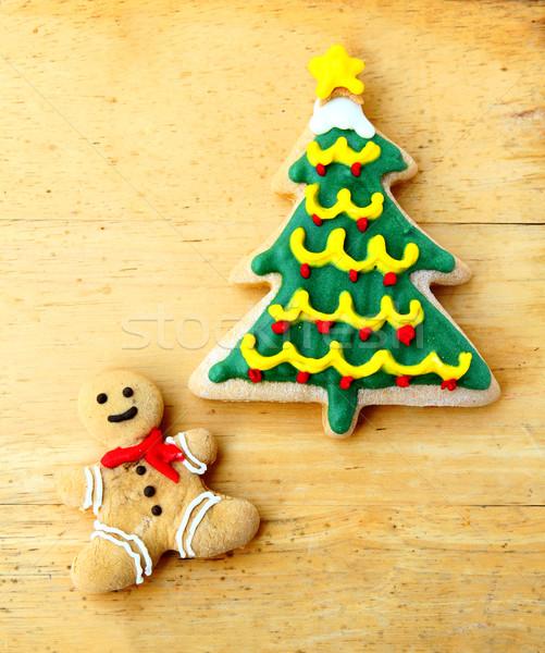 Dekore edilmiş Noel ahşap gıda ev şeker Stok fotoğraf © happydancing