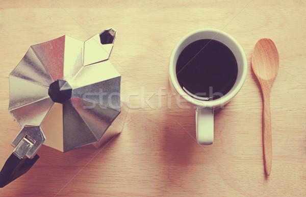 Caliente café olla cuchara de madera retro filtrar Foto stock © happydancing