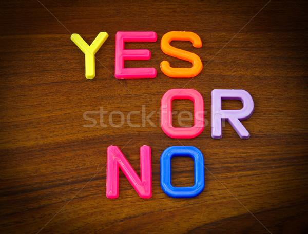 Ja geen kleurrijk speelgoed brieven hout Stockfoto © happydancing