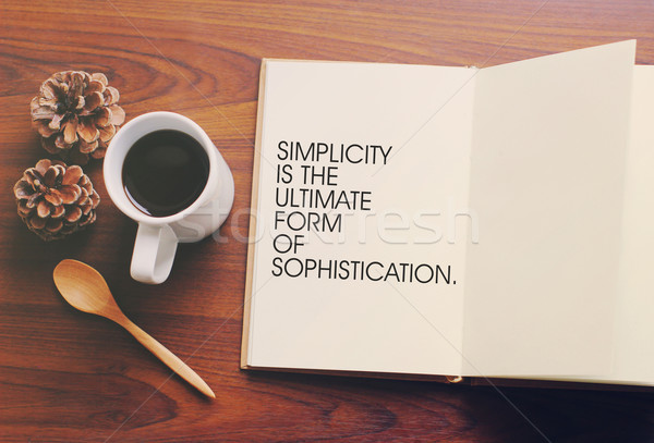 Inspirational motivating quote on notebook and coffee with retro Stock photo © happydancing