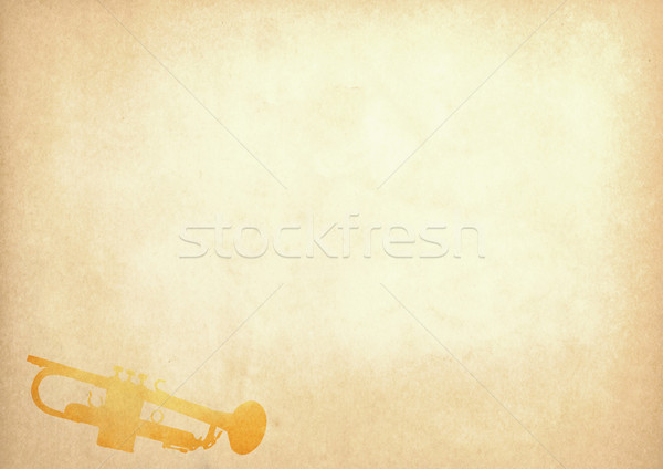 Grunge image of trumpet from old paper with copy space Stock photo © happydancing