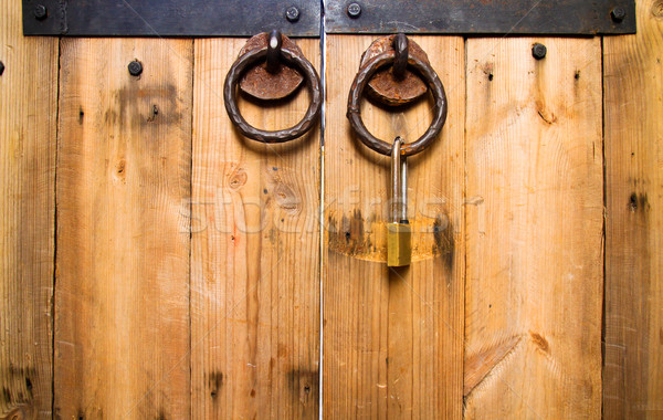 ancient wood door knob locked Stock photo © happydancing