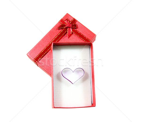 Forma de corazón rojo cuadro aislado blanco corazón Foto stock © happydancing
