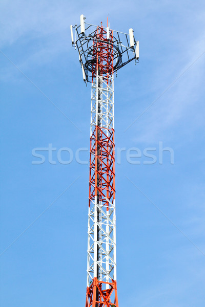 Telephone pole with clear blue sky Stock photo © happydancing