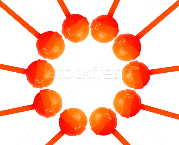 Figure circle from sweet lollipops isolated with copy space Stock photo © happydancing