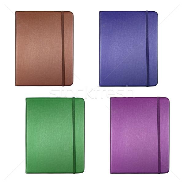 Collectie zijde dekken notebook geïsoleerd witte Stockfoto © happydancing