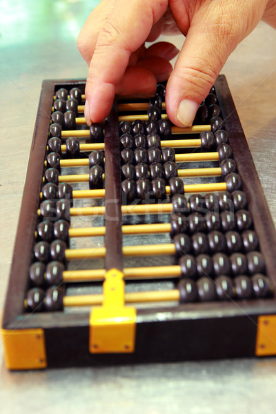 Abacus with old man's hand  Stock photo © happydancing