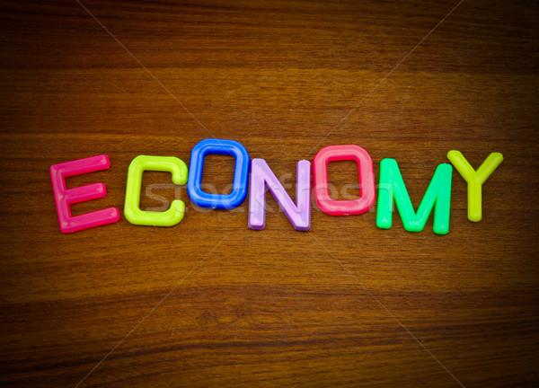 Economía colorido juguete cartas madera carta Foto stock © happydancing