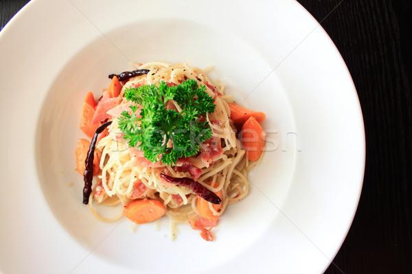 Spaghetti ham worst kaas witte peper Stockfoto © happydancing