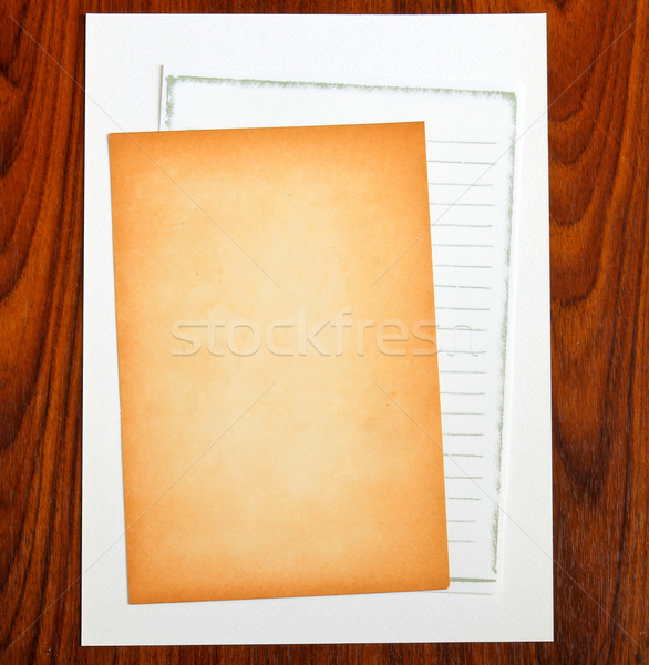 Blank notepaper on wooden background Stock photo © happydancing