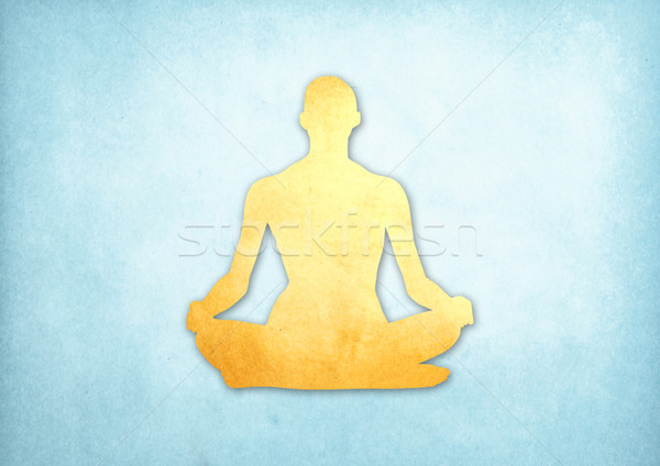 Abstract meditating people from grunge paper background Stock photo © happydancing
