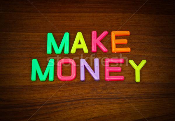 Dinero colorido juguete cartas madera Foto stock © happydancing
