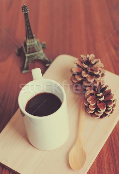 Stok fotoğraf: Siyah · kahve · kaşık · ahşap · tepsi · çam · koni
