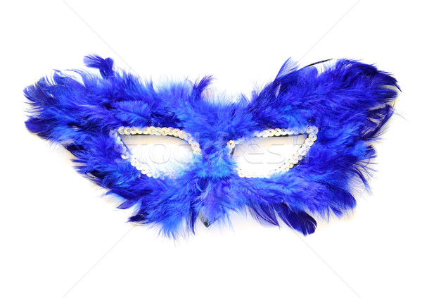 Fancy blue mask with feathers on white background Stock photo © happydancing
