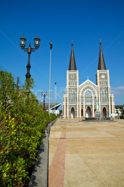 Catholic church with clear blue sky at Chantaburi province, Thai Stock photo © happydancing