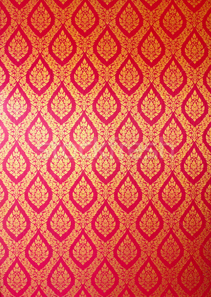 Thai Art Wall Pattern For Background Stock Photo