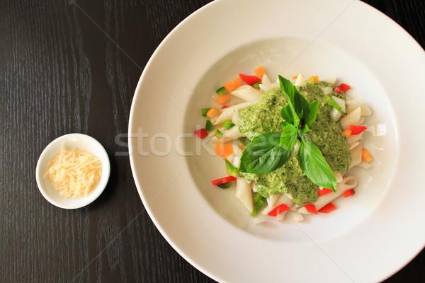 Pasta spinazie room saus restaurant kaas Stockfoto © happydancing