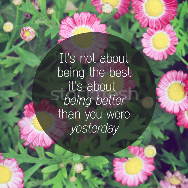 Inspirational quote on pink blossom flowers with retro filter ef Stock photo © happydancing