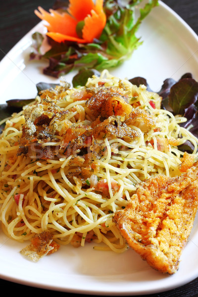 spaghetti with crispy dried fish (Thai fusion food) Stock photo © happydancing