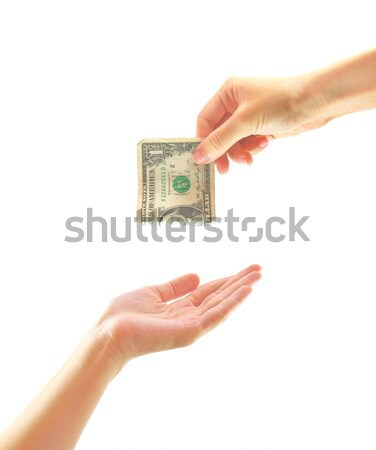 Hand giving money to other hand isolated Stock photo © happydancing