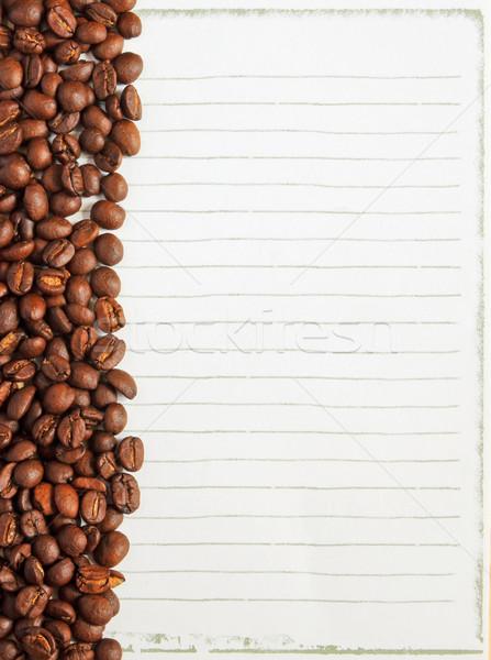 Koffiebonen witte papier merkt koffie abstract Stockfoto © happydancing