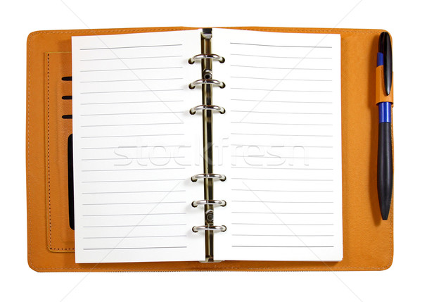 Brown leather binder notebook with pen isolated on white  Stock photo © happydancing
