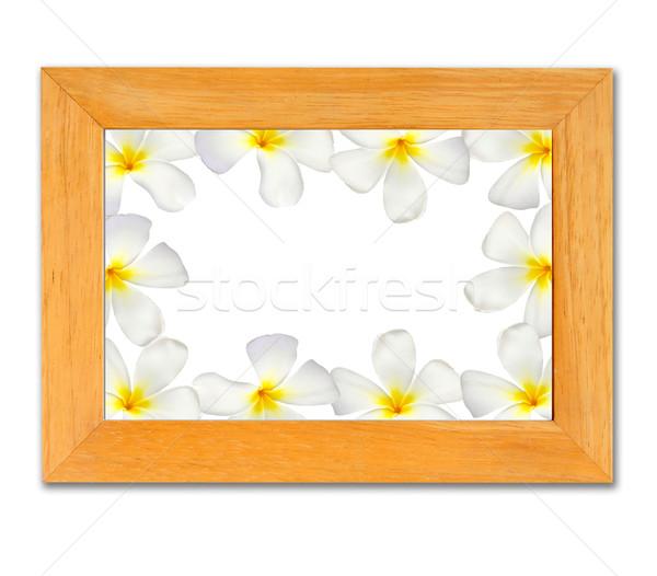 Hout frame geïsoleerd witte textuur muur Stockfoto © happydancing
