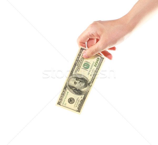 Female hand holding money dollars isolated on white Stock photo © happydancing