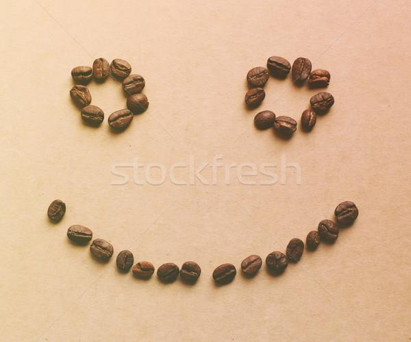 Glückliches Gesicht Kaffeebohnen Retro filtern Wirkung Stock foto © happydancing
